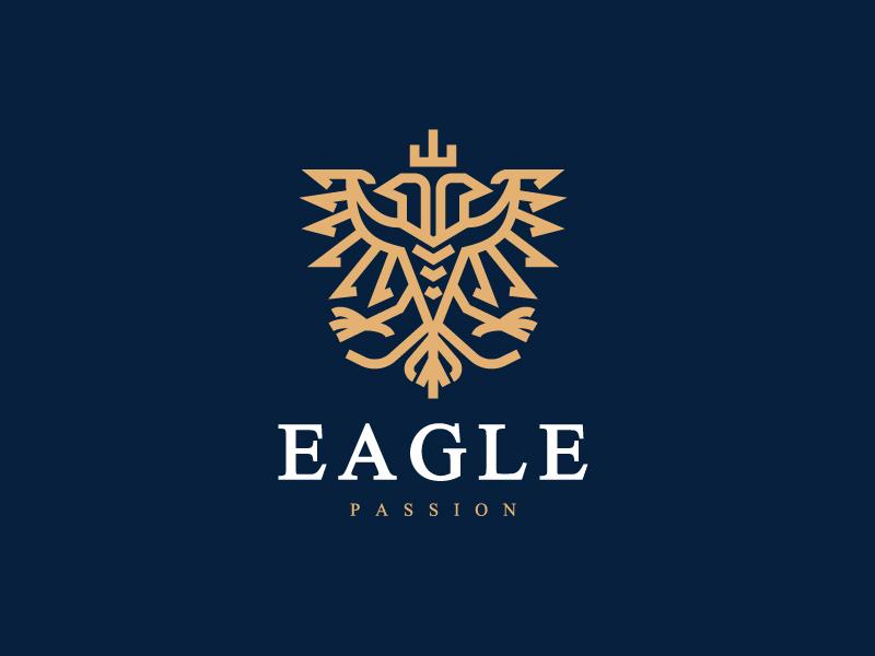 Two Head Eagle Alternative luxury clean modern simple logo icon mark animal heraldic heraldry bird