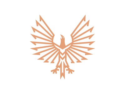 Phoenix Herald Dribbble Gold White monogram simple logo identity branding myth mythical creature mythical animal heraldry i logo bird icon symbol kingdom unique wings bird mythic heraldic phoenix