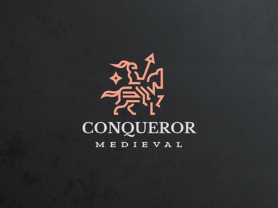 Conqueror Medieval Knight identity branding monogram simple modern luxury professional authentic logodesign logo conqueror lineart monoline majesty kingdom horse knight