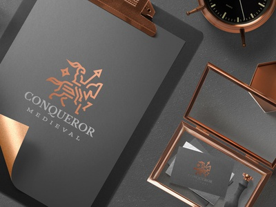 Conqueror Branding icon identity mark monogram branding design bold line sophisticated majesty kingdom medieval knight horse logo branding and identity branding