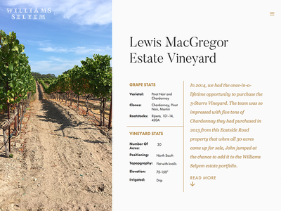 Vineyard Overview vineyard wine quote table gold vue component page web