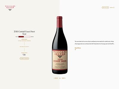 Wine Page Overview Header api wordpress stats bottle wine vue css web
