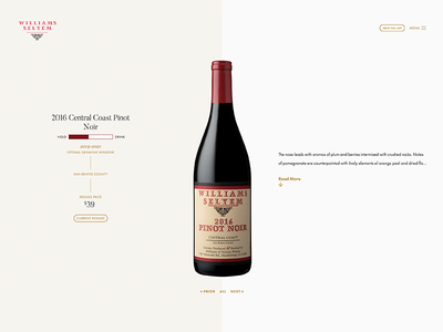 Wine Page Overview Header api wordpress stats bottle wine vue css web