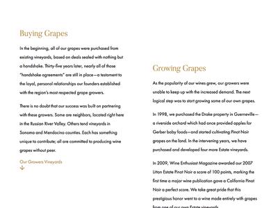 Vineyards – Buying & Growing Grapes web typesetting typogaphy wine winery vineyard