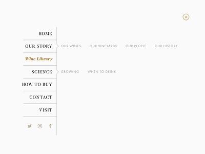 Winery Navigation structured list navigation bar menu tree list subpage css flexbox ui scss