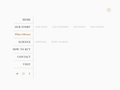 Winery Navigation structured list navigation bar menu tree list subpage css flexbox ui scss