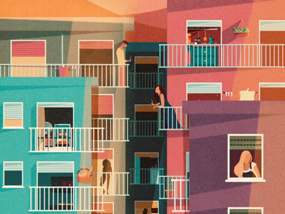 Stay at home instagram social digital flat sunset vector city balconies balcony colors palaces covid19 covid illustrator art drawing illustration home
