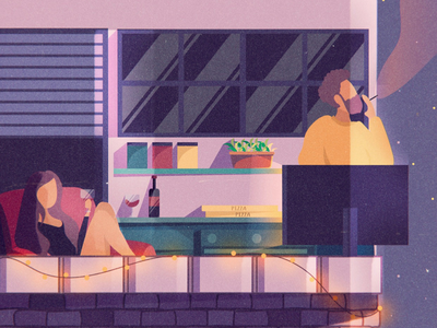 Life on a balcony stars sky city boy girl instagram distance social digital art love pizza couple covid night purple violet lights balcony