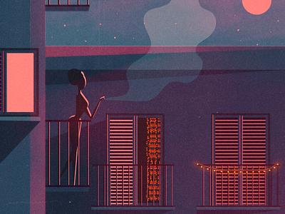 The season of my favorite evenings is starting✨ pt2 vibes night purple drawing illustration instagram social dream love summer stars lights moonlight sky feelings art digital envy balcony