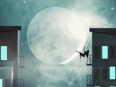 Fly starry night moon drawing illustration instagram social dream love feminist stars lights moonlight sky feelings art digital envy balcony