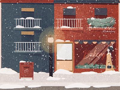 Happy holidays christmas city winter vector drawing instagram social street love vintage illustration snow chic cute art digital girl balcony