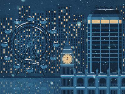 Merry Christmas love romantic instagram social texture illustrator illustration eye big ben lights art digital vector sky night skyline city london snow blue christmas