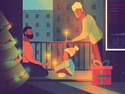 Christmas family. illustrator adobe character landscape city light vector illustration christmas gift couple love instagram social design art digital merrychristmas family