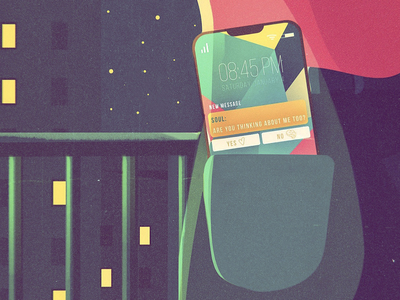 Choices instagram social love illustration art digital night vector chat message smartphone moonlight skyline stars sky balcony girl brain heart