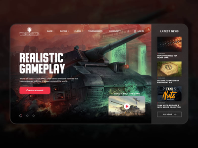 World of Tanks redesign concept redesign war slider tanks world of tanks wot website motion interface concept ux ui design animation