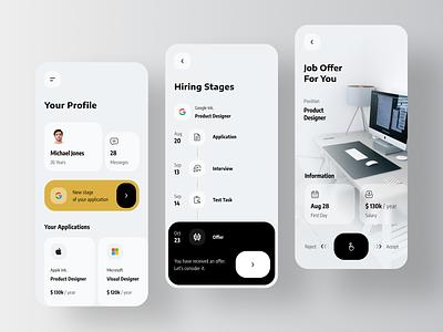 Jobwaves - Job Search Platform Mobile App job offer mobile employment employees employer concept product design job board job listing vacancy job application jobs hiring platform hired hiring job vacancies