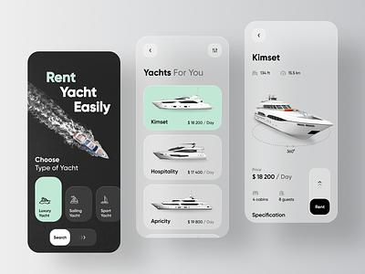 Yacht Booking Service Application - Rent Yacht glassmorphism app design mobile interface ui glass blur swipe 3d cruiser boat sailboat sailing sail booking book rent yachts yacht app