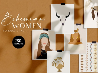 Bohemian Women Prints Illustrations