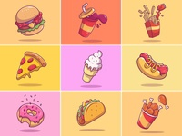 FAST FOOD ILLUSTRATIONS V1