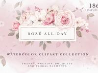 Rose Watercolor Clipart & Invitation