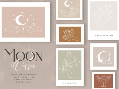 Moon Wave graphic art set