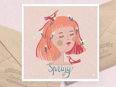 Spring theme. Set. 4 illustrations