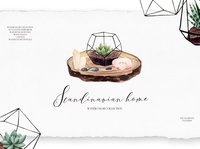 Scandinavian Home collection, watercolor plants and crystals