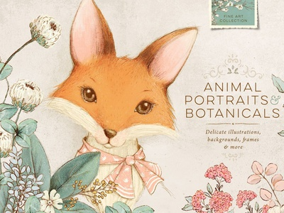 Animal Portraits & flowers graphic design clip art clipart illustrations illustration baby animals wedding invitation frame floral frame wreath animal illustration animal portraits animal portrait floral flower flowers portraits portrait animal