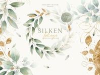Watercolor Foliage & Gold Alphabet