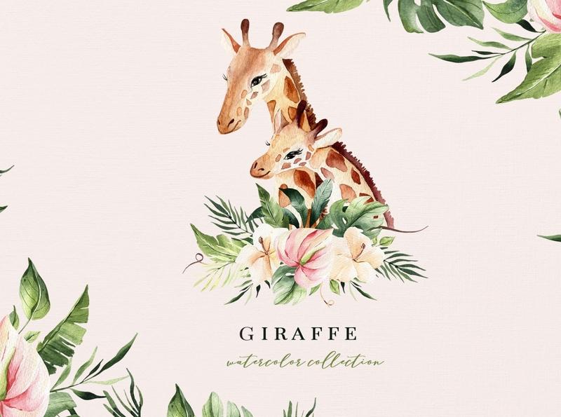 Giraffe. Watercolor kids collection