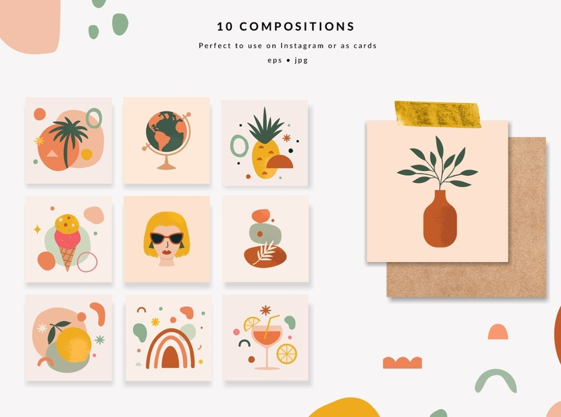 Summer Abstraction Kit Collection logo abstract art abstract shapes abstract shape poster design poster art flowers watercolor floral background vector design illustration collections stamps abstract stamp collection abstraction kit abstraction summer