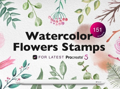 Procreate Watercolor Flowers Stamps art pencil ipad pro app procreate app drawing painting paint watercolor brushes watercolor brush watercolor flowers watercolor stamps watercolor stamp procreate watercolor flower stamps stamps stamp flowers watercolor procreate