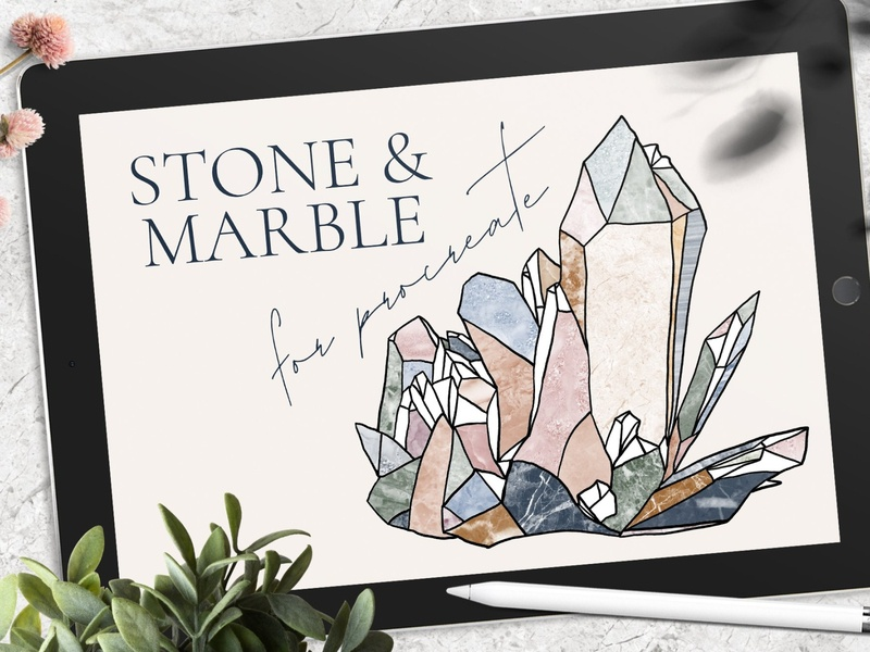Stone & Marble Brushes for Procreate ipad pro ipad realistic patterns pattern textures texture graphic design art modern digital paint digital art procreate stone procreate brushes procreate brush procreate brushes brush marble stone