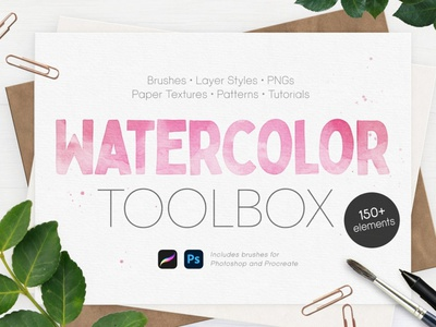 Ultimate Watercolor Toolbox textures paper texture layer styles procreate brush set watercolor flowers watercolor illustration watercolor art watercolor painting watercolors watercolour watercolor kit procreate brushes procreate brush procreate brushes brush watercolor brushes watercolor brush watercolor toolbox watercolor