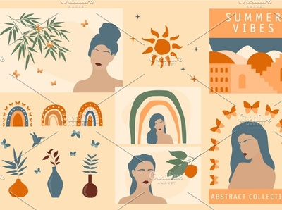 Summer Vibes Constructor. Girl Cards vector templates design graphic design digital illustration design illustration art illustraion illustrator illustrations illustration posters poster template card design girl card girl cards card summer