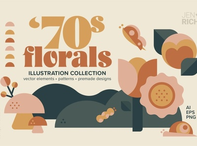 70s Florals Illustration Collection graphics graphic leaves elements butterflies caterpillar snail mushrooms illustration digital illustration design illustration art floral elements design flowers collection illustrations illustration 70s florals floral