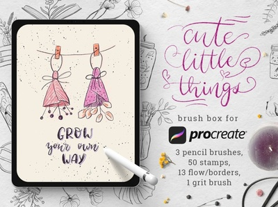 Cute Little Things for Procreate brush set create flow decorate calligraphy graphic design graphics artwork clipart florals hand drawn design flowers floral stamps stamp procreate brushes procreate brush procreate cute little things