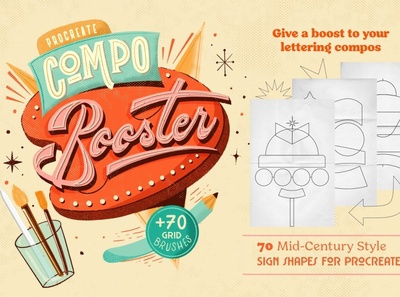 CompoBooster Procreate Retro Brushes vibe compo booster compo booster signage typeface calligraphy shapes shape vintage retro lettering compose lettering compos lettering mid century composer procreate retro brushes procreate retro brush procreate retro procreate