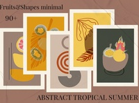 ABSTRACT TROPICAL SUMMER. Flora geometry hand painted bundle boho minimal shapes stamps fruits watercolor background vector illustration abstract art design flowers floral flora summer tropical abstract