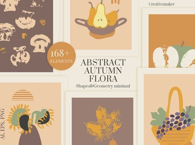 Abstract Autumn Floral halloween pumpkin illustration banner posters poster shape abstract shape painted paint hand paint collection boho minimal geometry shapes flora floral autumn abstract