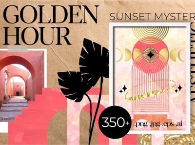 Golden Hour Sunset illustrations atmosphere charming mystical golden sun graphic design inspire inspired creative handmade illustration aesthetic mystery graphics collection graphics graphic design clipart sunset golden hour