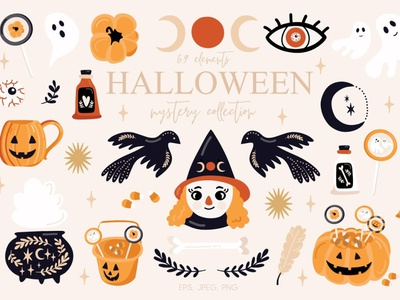 Halloween Mystery Collection vector illustration design collections branding textile blog sticker card greeting card wrapping paper graphic elements elements collection mystery halloween bash halloween flyer halloween party halloween design halloween