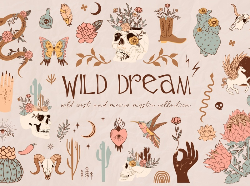 Wild Dream mystery collection art floral vector illustration shapes shape abstract instagram template instagram posters poster premade design graphic elements graphics collection graphics graphic collection mystery wild dream