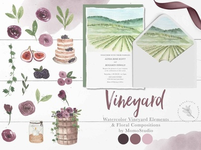 Watercolor Vineyard Elements floral frame backgrounds background graphics illustrations art graphic design flowers clipart floral illustration watercolor illustration watercolors watercolor art watercolor painting design graphic elements elements vineyard watercolor