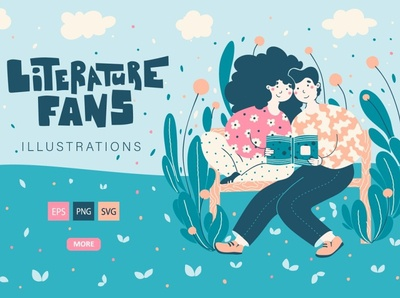 Literature Fans - Cute Illustration agency concept development web design website projects project presentation application graphic design graphic design illustration design illustration art illustrations illustration illustraion illustrator cute illustration cute