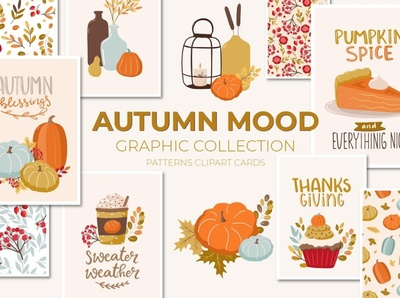 Autumn Mood Patterns&Clipart Bundle clipart element art flowers watercolor floral background vector illustration design moodboard autumn collection autumn party autumn flyer autumn leaves clipart bundle clipart patterns pattern mood autumn