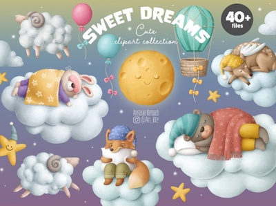 Sweet Dreams Clipart Collection illustration design illustration art illustrations illustraion graphic design designer invitations invitation baby shower postcards illustration collections background design images collection cliparts clipart animals animal
