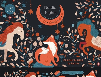 Nordic Nights. Boho Graphic Bundle. abstraction abstract poster ui logo graphics illustrations art graphic design flowers clipart floral design illustration bundle boho graphic design boho graphic boho nordic night nordic