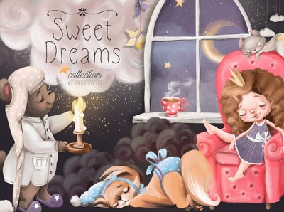 Sweet Dreams Collection vector dream bears foxes bunnies patterns pattern design elements girls girl cute animals graphic design graphics graphic clipart design poster collection dreams