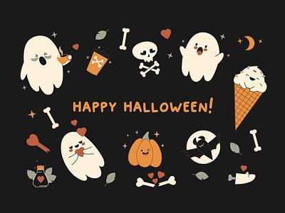 BOO! Cute Halloween Bundle psd png esp illustrations art graphic design background vector illustration design halloween bash halloween flyer halloween party halloween design cute animals cute illustration cute animal cute art halloween cute